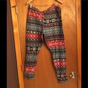 Sweater print fuzzy leggings size XXL